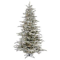 Vickerman 7.5-ft. Warm White Pre-Lit Flocked Sierra Artificial Christmas Tree
