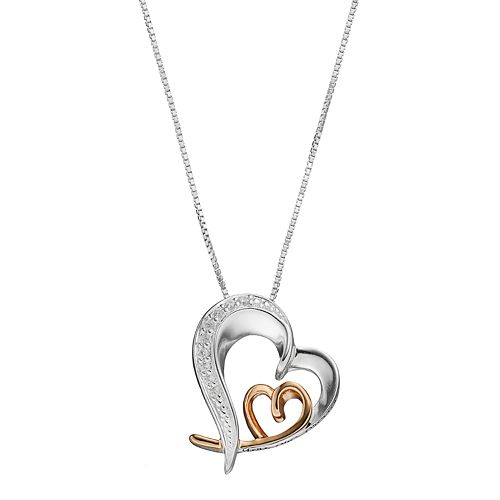 """Timeless Sterling Silver Two Tone Cubic Zirconia """"Grandma"""" Heart Pendant"""