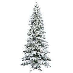 Vickerman 6.5-ft. Clear Pre-Lit Flocked Slim Utica Fir Artificial Christmas Tree