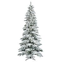 Vickerman 6.5-ft. Warm White Pre-Lit Flocked Slim Utica Fir Artificial Christmas Tree