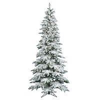 Vickerman 6.5-ft. Warm White Pre-Lit Flocked Slim Utica Fir Artificial Christmas Tree