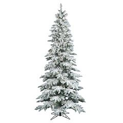Vickerman Warm White 7.5-ft. Pre-Lit Flocked Slim Utica Fir Artificial Christmas Tree