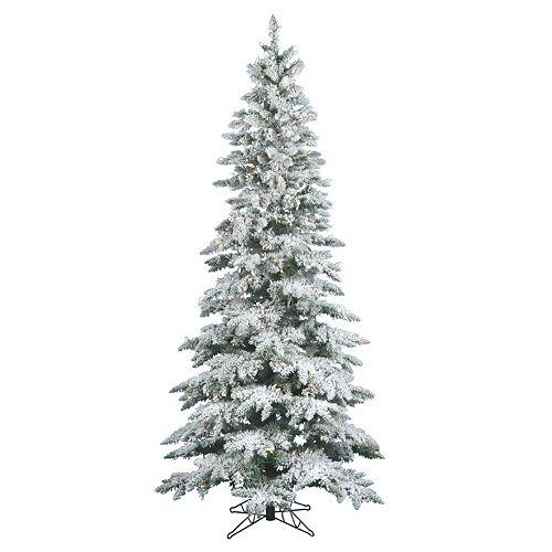 Vickerman Warm White 7.5-ft. Pre-Lit Flocked Slim Utica Fir Artificial Christmas  Tree - Vickerman Warm White 7.5-ft. Pre-Lit Flocked Slim Utica Fir