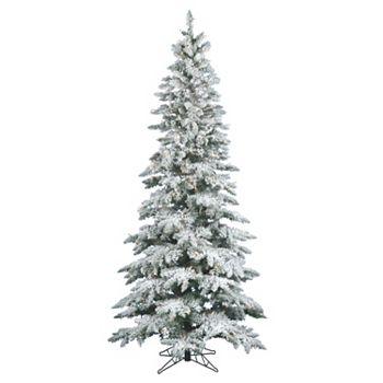 vickerman 9 ft warm white pre lit flocked slim utica fir artificial christmas tree - 9 Ft Slim Christmas Tree