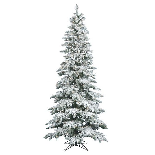 vickerman 9 ft warm white pre lit flocked slim utica fir artificial christmas tree