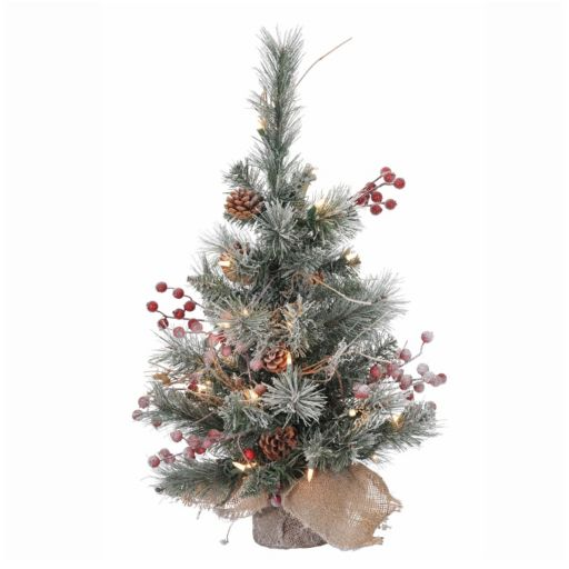 Vickerman 2-ft. Clear Pre-Lit Snow Tipped Pine and Berry Artificial Christmas Tree