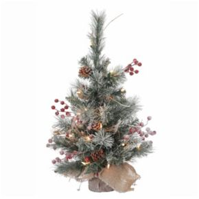 Vickerman 2-ft. Warm White Pre-Lit Snow Tipped Pine & Berry Artificial Christmas Tree