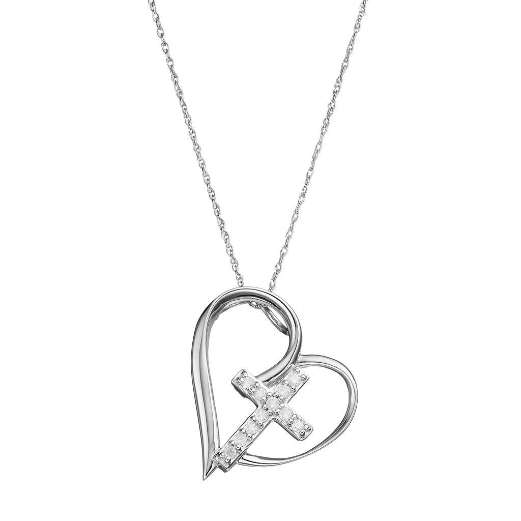 10k Gold 1/10 Carat T.W. Diamond Cross Heart Pendant