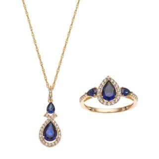10k Gold Lab-Created Blue & White Sapphire Teardrop Halo Jewelry Set