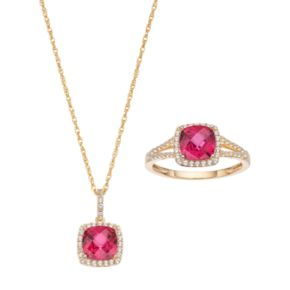 10k Gold Lab-Created Ruby & White Sapphire Halo Jewelry Set