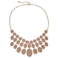 Pink Glitter Oval Statement Necklace