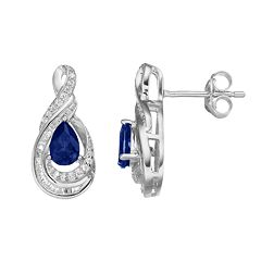 10k White Gold 1/4 Carat T.W. Diamond & Sapphire Twist Teardrop Earrings