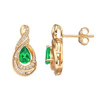 10k Gold 1/4 Carat T.W. Diamond & Emerald Twist Teardrop Earrings