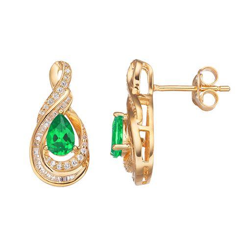 10k Gold 1/4 Carat T.W. Diamond & Emerald Twist Teardrop Earrings