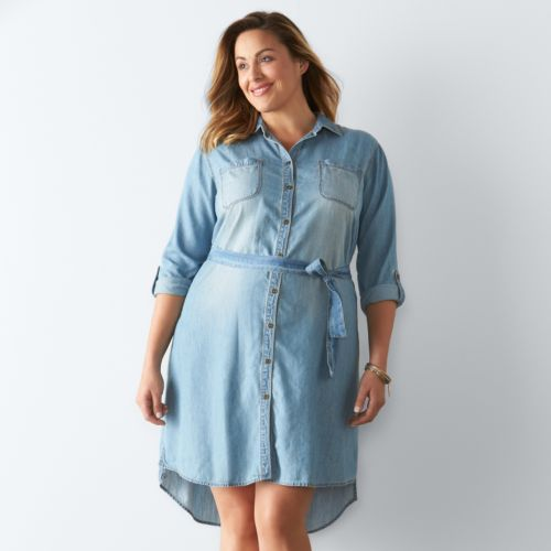 Plus Size SONOMA Goods for Life™ Button-Down Shirt Dress