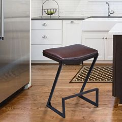 Armen Living Atlantis Faux-Leather Bar Stool
