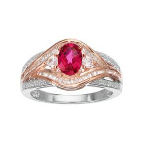 10k White Gold 3/8 Carat T.W. Diamond & Ruby Twist Ring