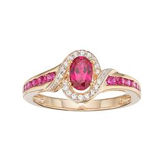 10k Gold Ruby & Diamond Accent Oval Halo Ring