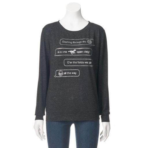 Juniors' Fifth Sun Emoji Christmas Sweatshirt