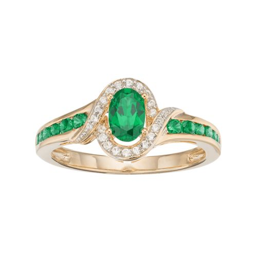 10k Gold Emerald & Diamond Accent Oval Halo Ring