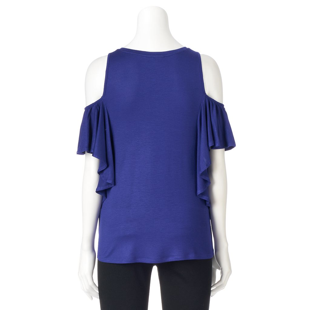 Women's Apt. 9® Ruffle Cold-Shoulder Top