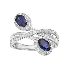 10k White Gold 1/3 Carat T.W. Diamond & Sapphire Oval Halo Bypass Ring