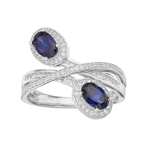 10k White Gold 1/3 Carat T.W. Diamond & Sapphire Oval Halo Bypass Ring
