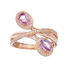 10k Rose Gold 1/3 Carat T.W. Diamond & Purple Sapphire Oval Halo Bypass Ring