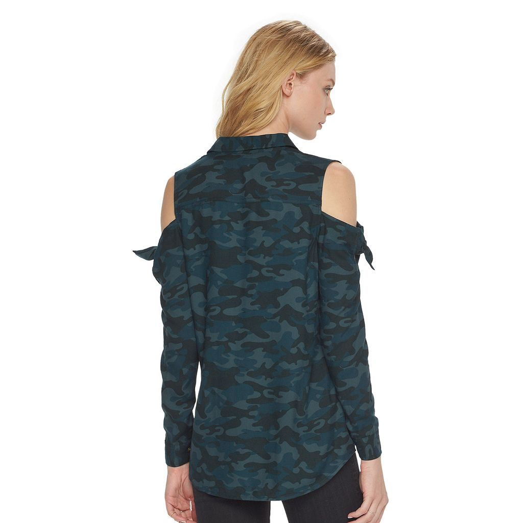 Women's Rock & Republic® Camo Cold-Shoulder Top
