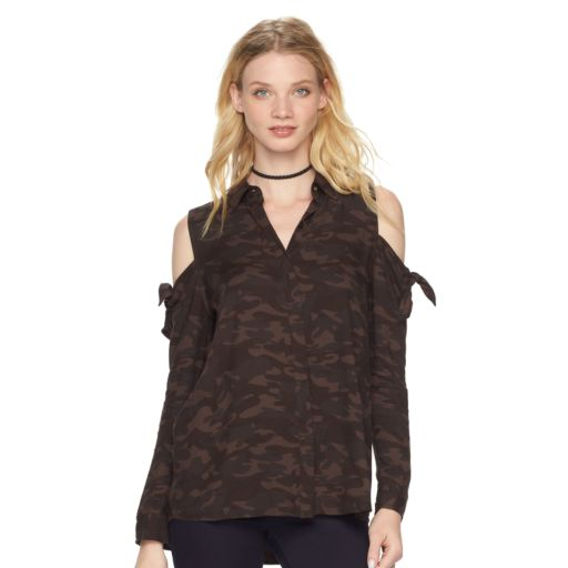 Women's Rock & Republic® Camo Cold-Shoulder Top