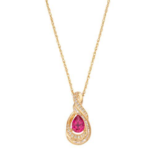 10k Gold 1/6 Carat T.W. Diamond & Ruby Twist Teardrop Pendant