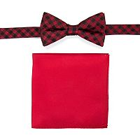 Men's Croft & Barrow® Patterned Pre-Tied Bow Tie & Solid Pocket Square Set