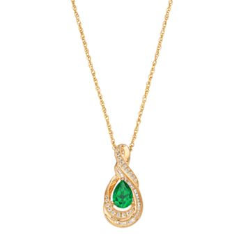 10k Gold 1/6 Carat T.W. Diamond & Emerald Twist Teardrop Pendant