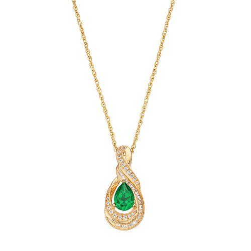 10k Gold 1/6 Carat T.W. Diamond & Emerald Twist Teardrop Pendant