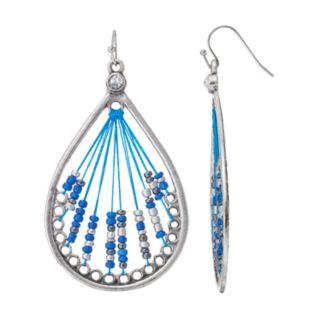 Blue Seed Bead Woven Teardrop Earrings
