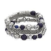 Blue Bead & Popcorn Chain Stretch Bracelet Set