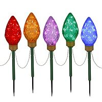 Vickerman Multicolor LED Bulb Christmas Lawn Stake 5-piece Set