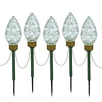 Vickerman Cool White LED Bulb Christmas Lawn Stake 5-piece Set