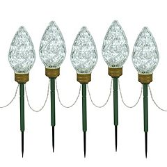Vickerman Cool White LED Bulb Christmas Lawn Stake 5 pc Set