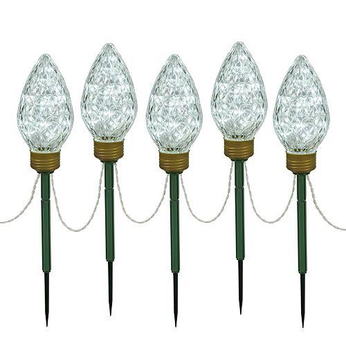 Vickerman Cool White LED Bulb Christmas Lawn Stake 5-piece Set
