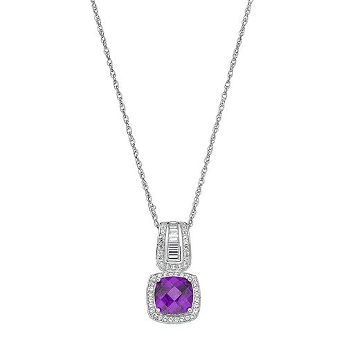 Sterling Silver Amethyst & Lab-Created White Sapphire Halo Pendant