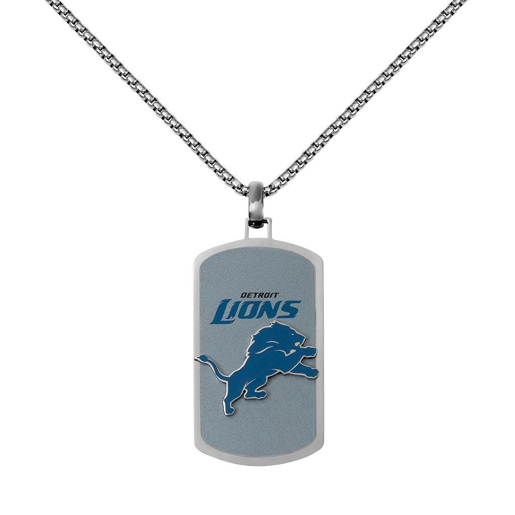Men's Stainless Steel Detroit Lions Dog Tag Necklace