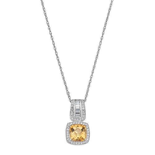 Sterling Silver Citrine & Lab-Created White Sapphire Halo Pendant