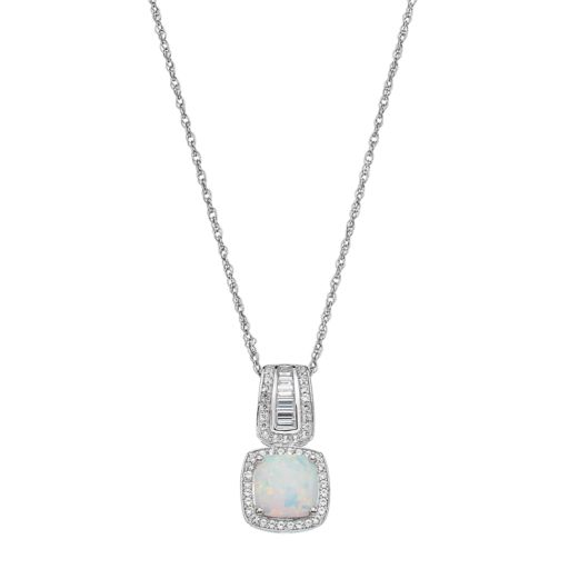 Sterling Silver Lab-Created White Opal & White Sapphire Halo Pendant