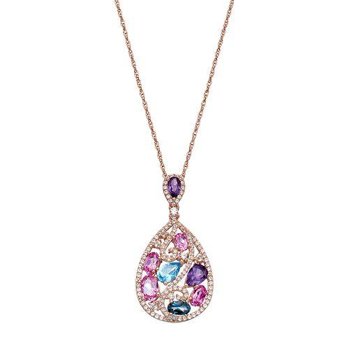 14k Rose Gold Over Silver Gemstone Teardrop Pendant Necklace