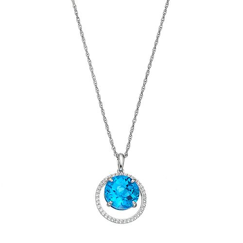 Sterling Silver Blue Topaz & Lab-Created White Sapphire Circle Pendant
