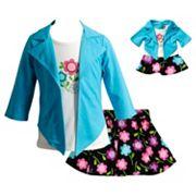 Girls 4-14 Dollie & Me Floral Mock-Layer Top & Skirt Set