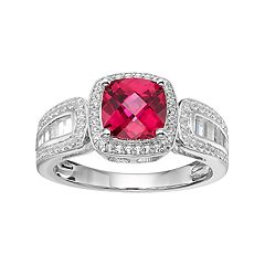 Sterling Silver Lab-Created Ruby & White Sapphire Halo Ring
