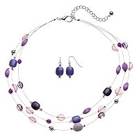 Purple Bead & Inlay Multi Strand Necklace & Drop Earring Set