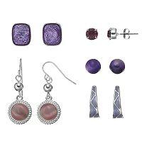 Purple Hoop, Stud & Drop Earring Set
